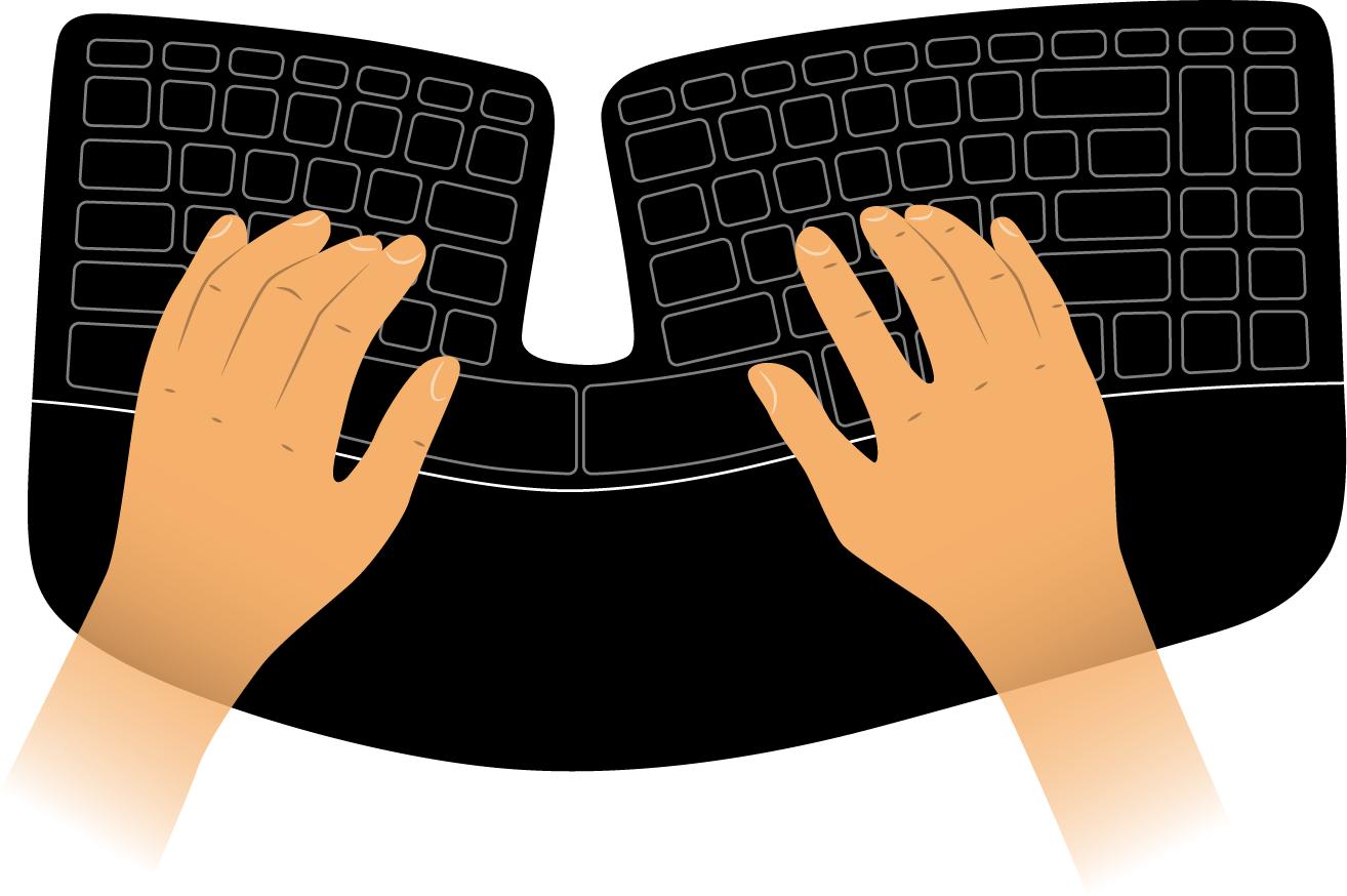 Form einer ergonomischen Tastatur